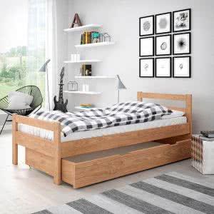 Łóżko drewniane Slim wysuwany pojemnik na pościel