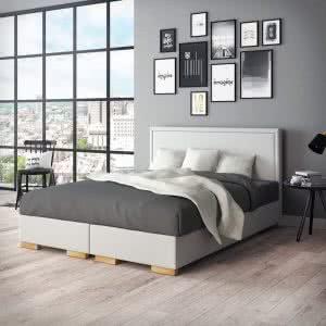 Łóżko tapicerowane kontynentalne Simple Senpo jasne